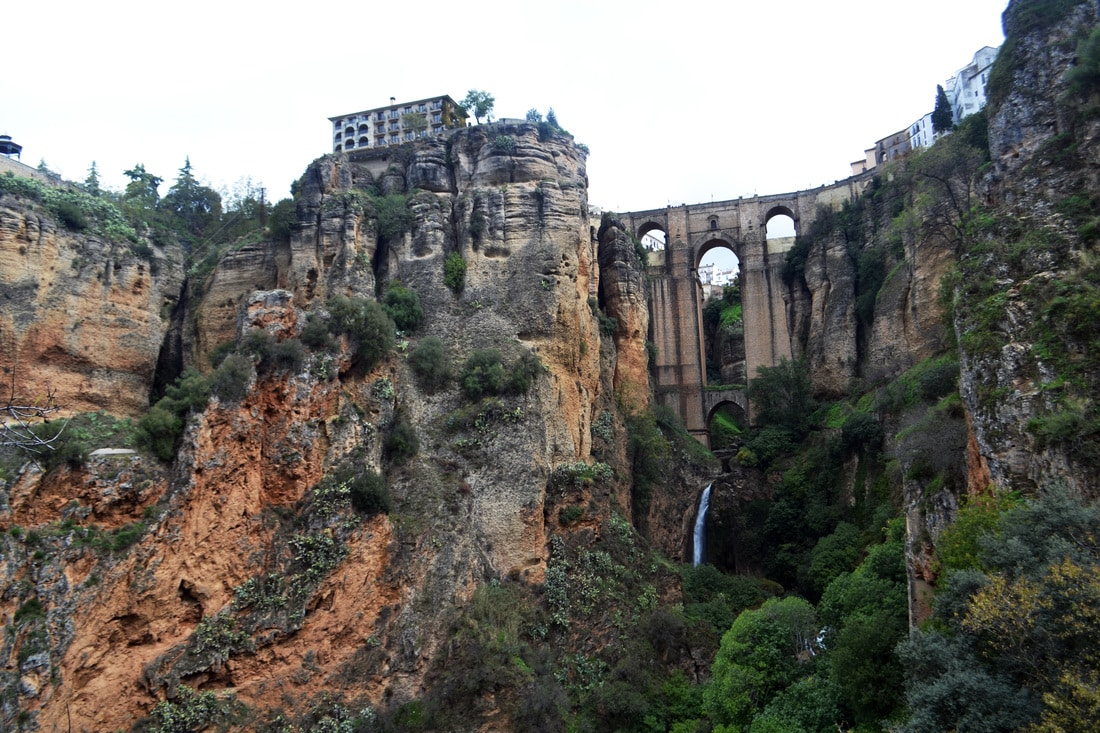 Photo of bridge in Ronda spain, one of the best things to do in Andalucia Spain.