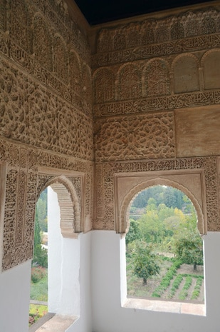 Photo of window of the Alhambra in Andalucia Spain