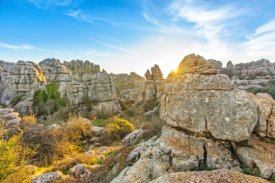 Photo of El Torcal National Park in Andalucia Spain, one of the best things to do in Andalucia with crazy rocks!