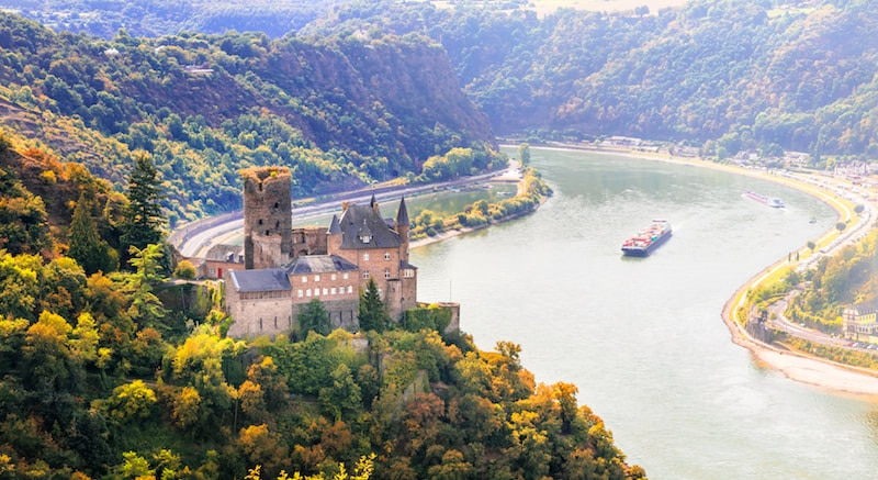 Photo of Katz Castle in Rhine Valley. Read how to visit Rhine Valley without a river cruise with tips for staying on budget in Rhine Valley.