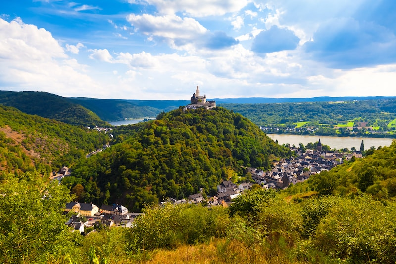 Photo of Castle Marksburg in Rhine Valley Germany. Read how to visit Rhine Valley on a budget without a river cruise!