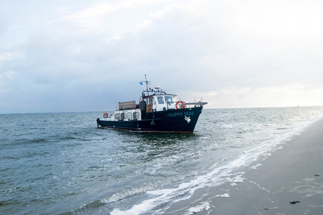 Happy Seal boat in the Wadden Sea for ecotourism in holland. This tour from Lauwersoog lets you release seals back into the sea with Pieterburen seal center