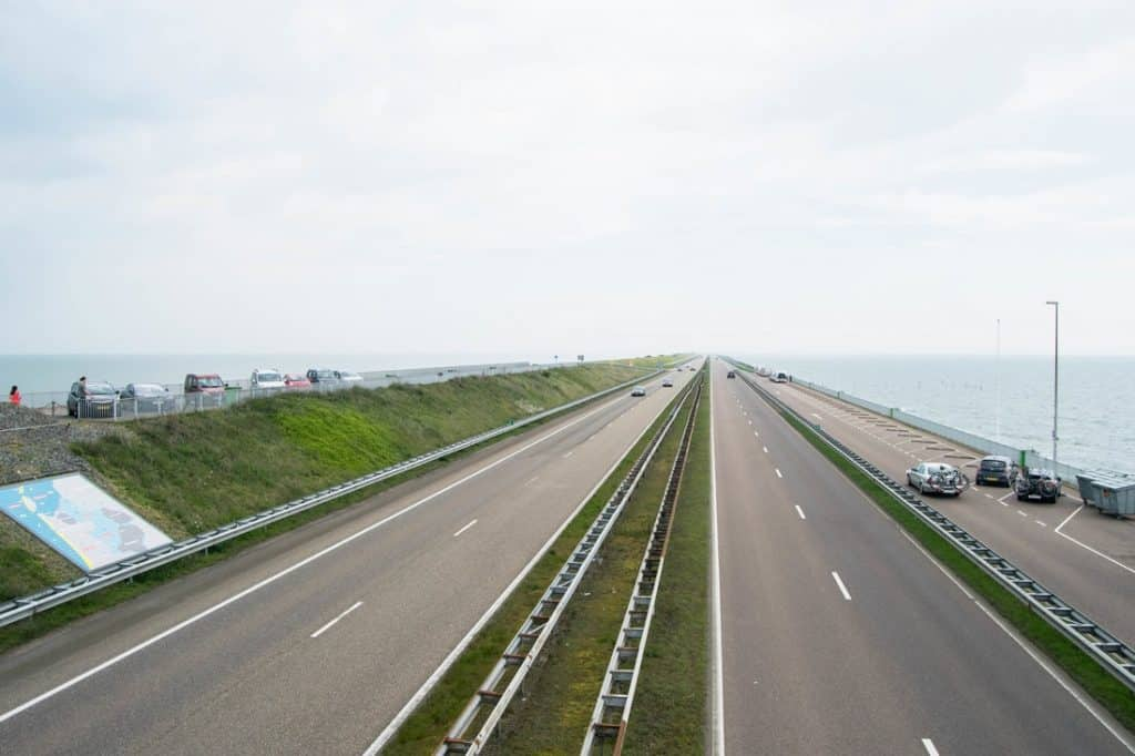 Photo of Afsluitdijk, the sea barrier in the Netherlands.  This feat of engineering is a must for those looking for an alternative and geeky experience in NL!