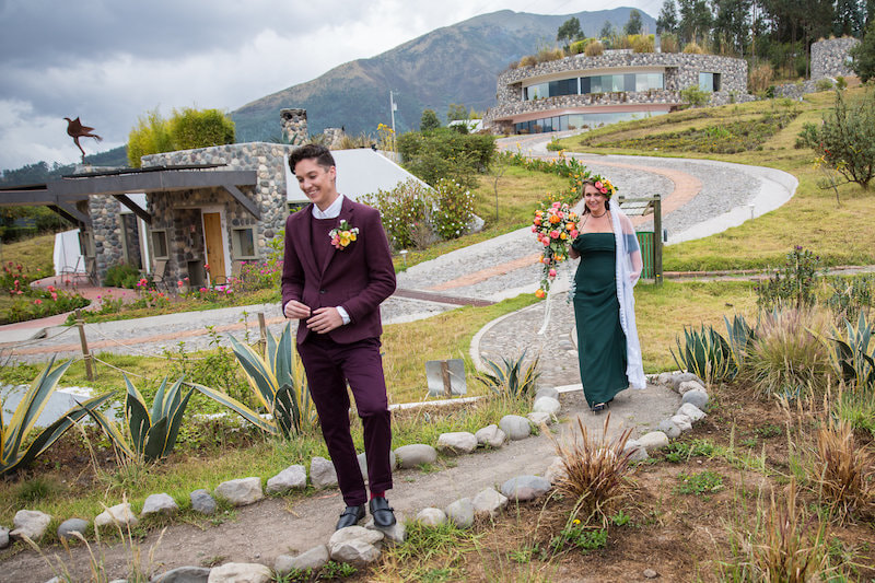 Photo of two brides in Ecuador for an elopement in South America. LGBT elopement inspiration.