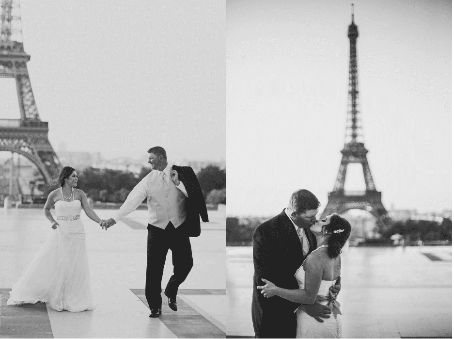 Romantic picture of couple in Paris kissing in front of Eiffel Tower. Read more about the most romantic places to elope, including Paris!