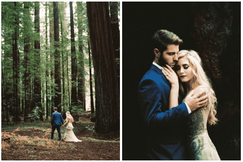Beautiful redwood forest elopement inspiration by Julian Navarette. For more information about the most unique places to elope, read tips on how to elope!
