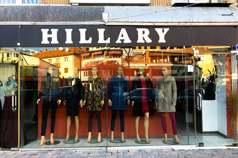 Hillary Clinton inspired store in Kosovo. Find out more quirky things to do in Pristina Kosovo!
