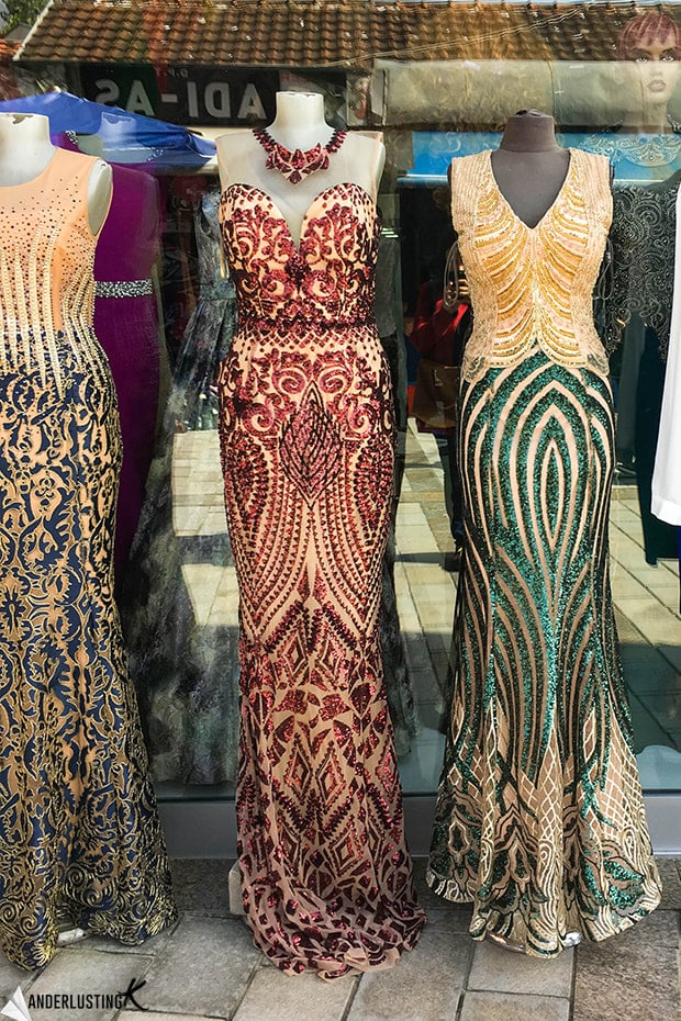 Beautiful dresses in Peja, Kosovo. Find out more about the Bazaar in Peja and the best things to do in Peja!