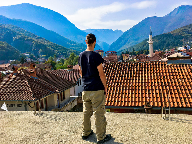 View from Rooftop in Peja Kosovo, one of the most beautiful cities in Kosovo. Visit Kosovo for amazing cities and nature!