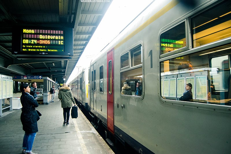 Photo of train in Belgium. Find out how to get from Brussels to Mons, one of the best day trips from Brussels.