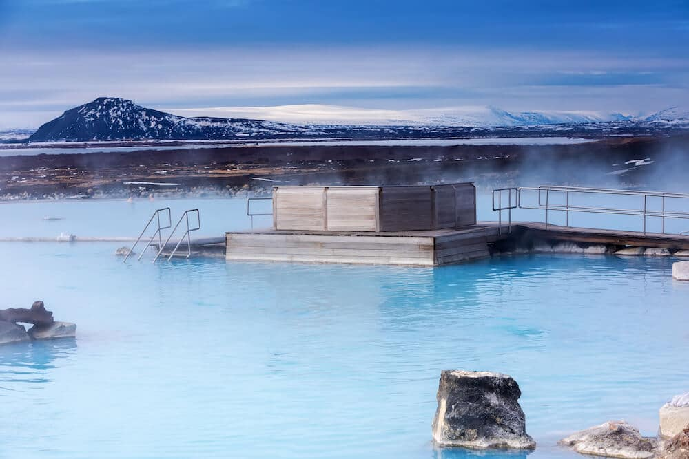 Mvyatn Baths, one of the best things to do in Iceland in Winter