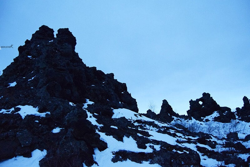Photo of Dimmuborgir, one of the best attractions in Iceland in winter.