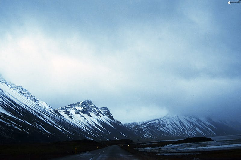 Photo of Ring Road in Iceland in winter. Read travel tips for Iceland road trips in winter.