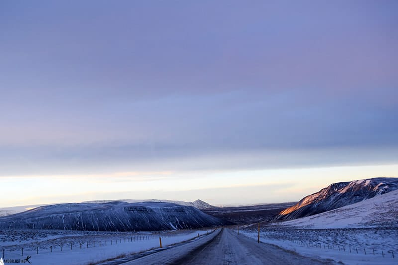 Photo of Ring Road in Iceland in winter. Find out more about self driving tours of Iceland in winter with tips for rental cars in iceland.
