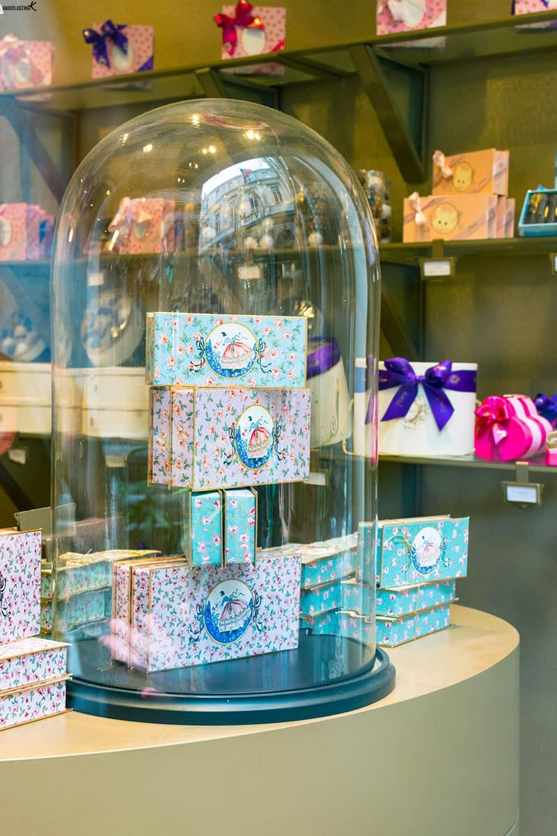 Photo of decorated box at Mary chocolatier in Brussels. Read about the best chocolate tour in Brussels!