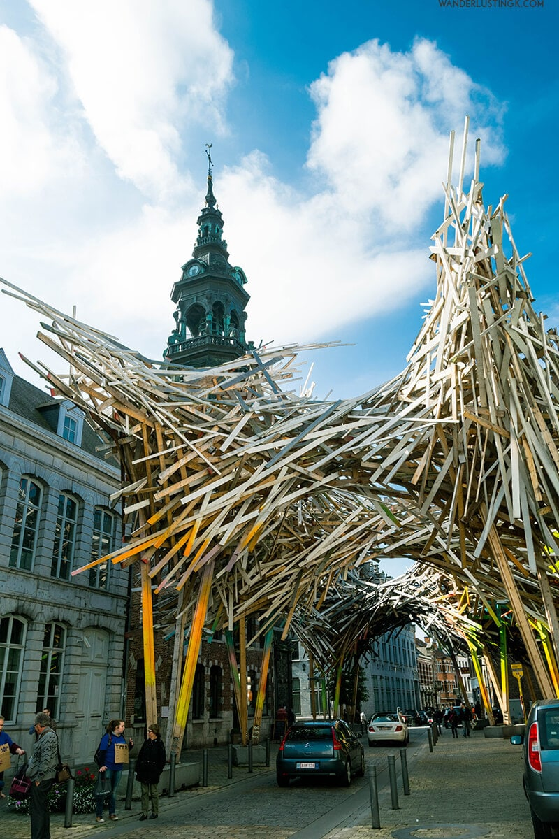 Modern Matchstick Sculpture in Mons, one of the most interesting places to visit in Belgium.
