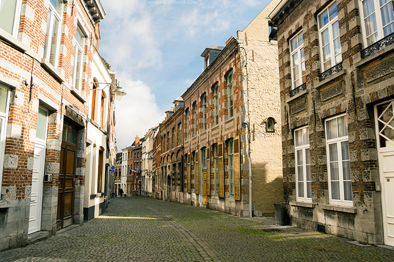 Beautiful cobblestone streets of Mons, one of the most beautiful cities in Belgium.