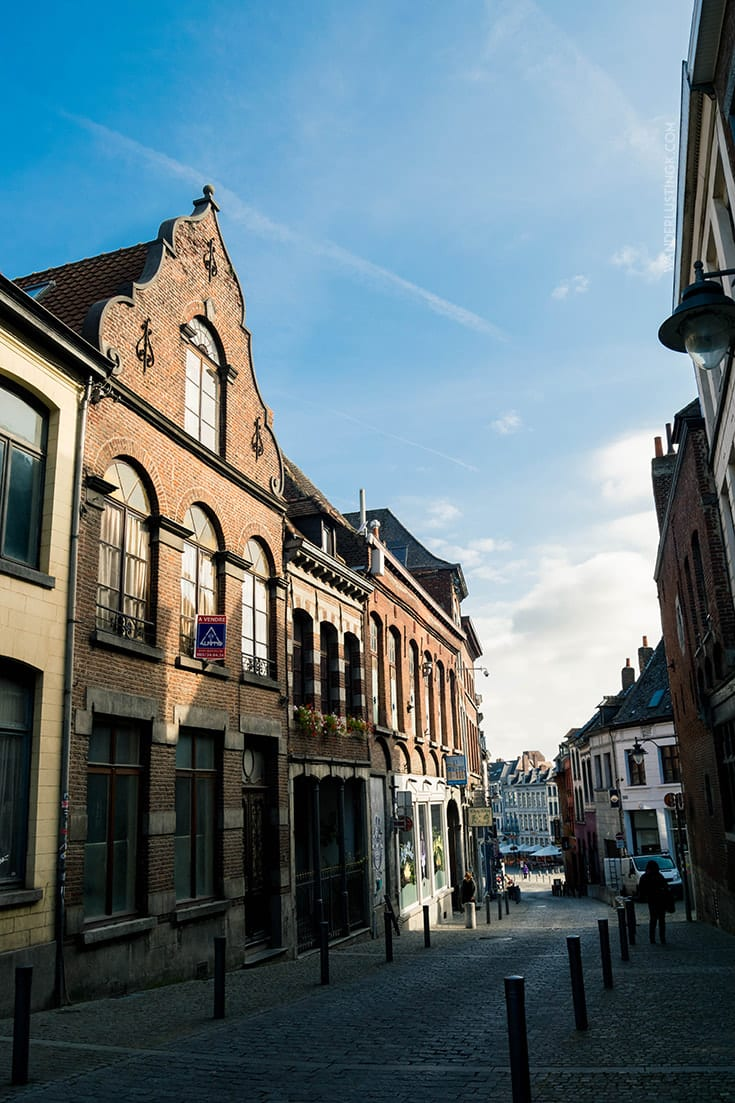 Beautiful street in Mons Belgium, one of the best day trips from Bruxelles