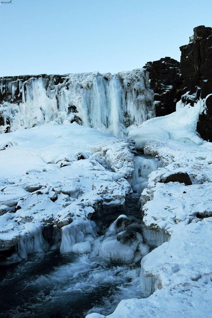 Photo of Öxarárfoss waterfall, one of the best attractions in Iceland in winter.