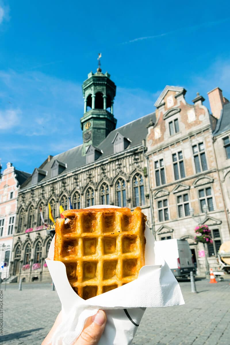 Waffle in Mons next to Grand Place in Mons. One of the best Brussels Day Trips!