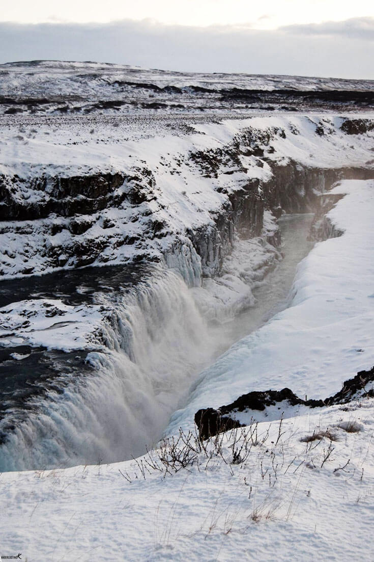 Photo of Gulfoss in Iceland. Find out the best itinerary for a winter road trip in Iceland.