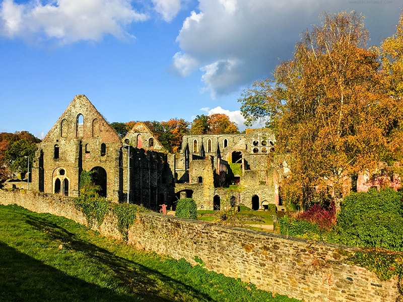 Photo of Villers Abbey from distance. Visit Wallonia from Brussels by going to Villers Abbey.