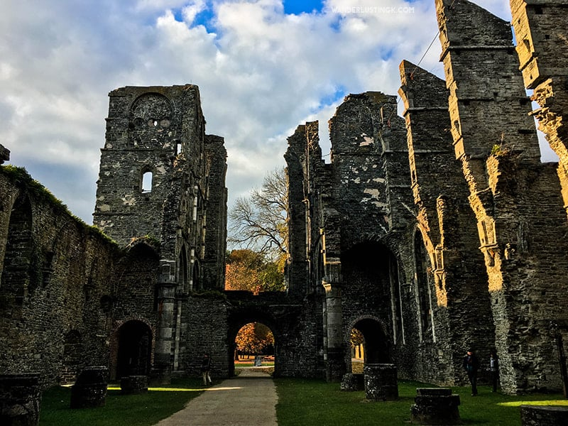 Photo of Ruins of Abbey in Belgium. Find out about the best place to visit outside of Brussels + tips for visiting Abbaye de Villers in Wallonia Belgium