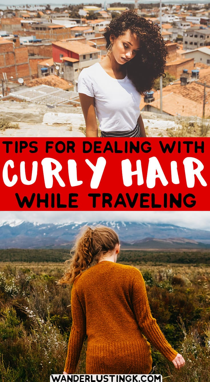 Tips for dealing with curly hair while traveling with the best products for curly hair from 9 bloggers with curly hair! #CurlyHair #Travel #Hair #Beauty