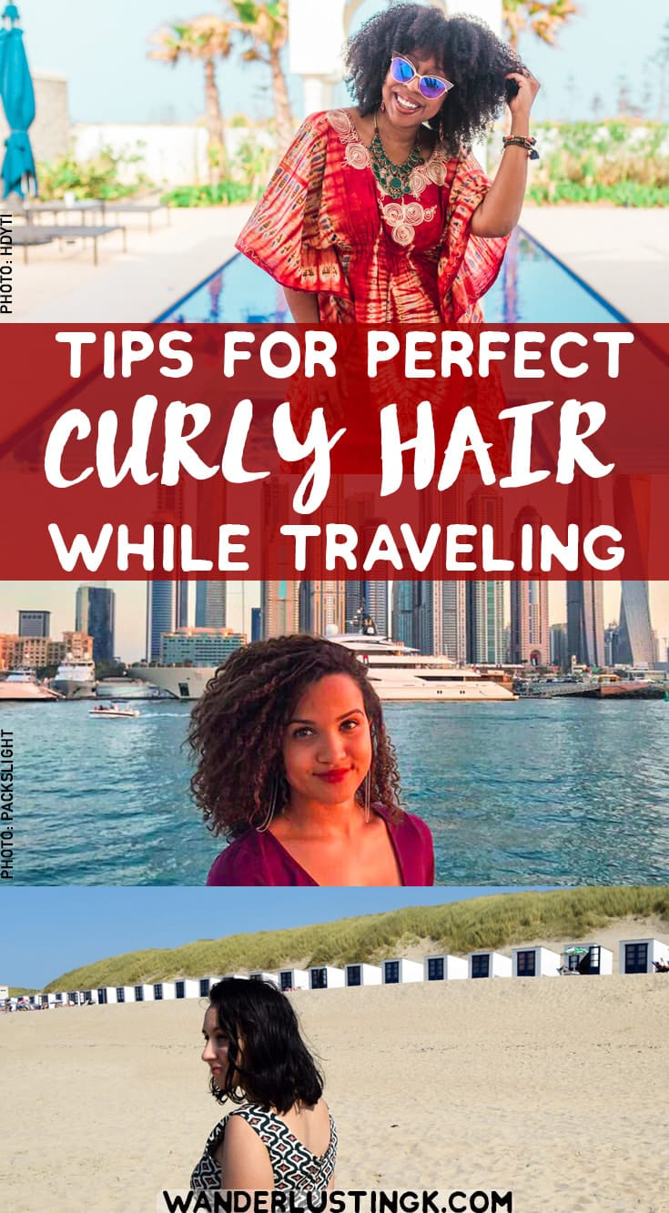 Tips for traveling with curly hair, their travel beauty essentials, and hair products for traveling with curly hair. #CurlyHair #Travel #Beauty #Hair