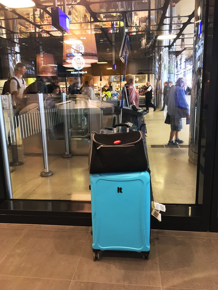 Photo of ARGO cat carrier in train station. Find out what to look for in a good cat carrier that is airline approved.