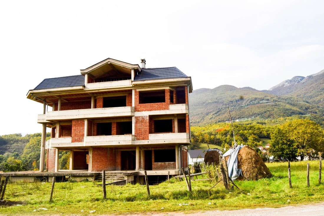 House under construction in Radavc Kosovo