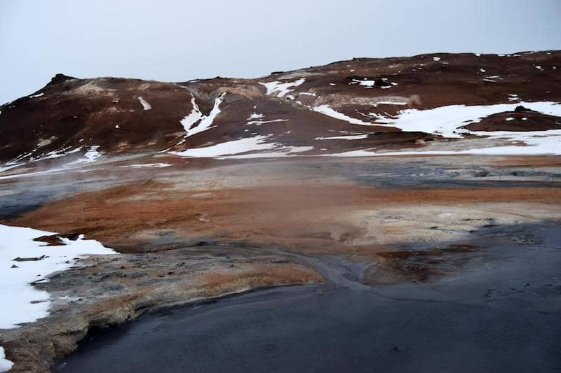 Hverarond Mud Pits in Myvatn Iceland. Find out about the best things to do in Myvatn in winter.