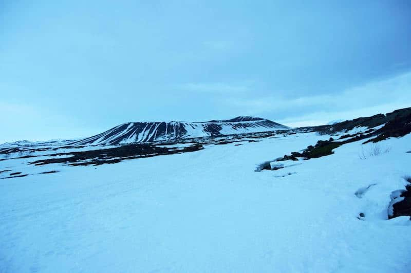 Hverfjall Volcano from a distance. Find out about the best things to do in winter in Lake Myvatn.