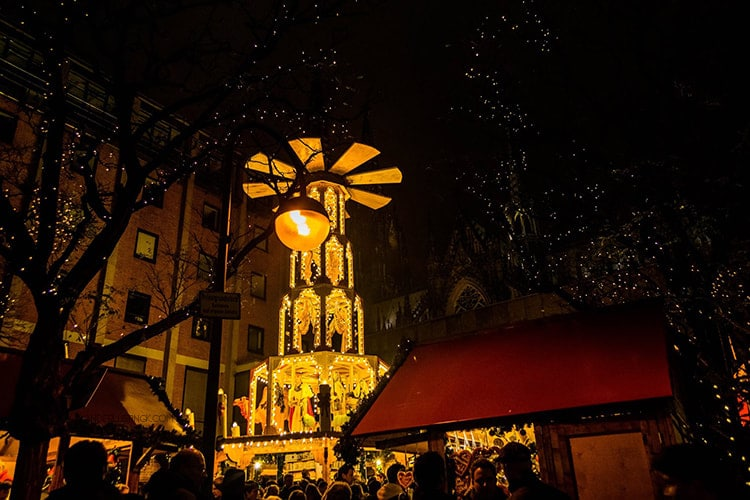 Photo of christmas decorations in Cologne. Tips for visiting German Christmas Markets in Cologne Germany!