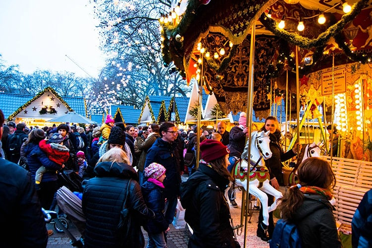 Photo of carosel at the Market of Angels Christmas Market in Cologne Germany.