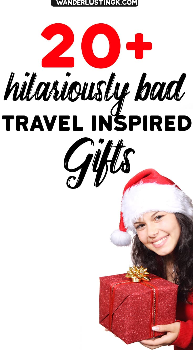 Looking for a unique gift for a friend? Troll worthy 20+ gift ideas for funny and terrible Christmas gifts for travelers. #Travel #Christmas #Gifts