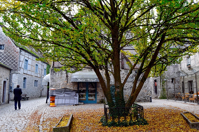 Beautiful street with leaves in Durbuy Belgium, one of the best day trips from Brussels.