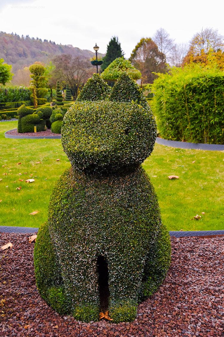 Cat topiary sculpture in Le Parc des Topiaries in Durbuy Belgium.
