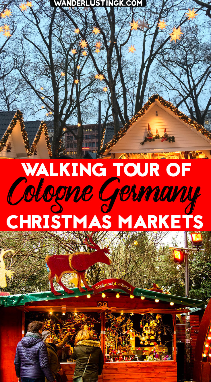 Traveling to Cologne Germany for German Christmas Markets? A self guided walking tour of Cologne Christmas Markets with map! #Christmas #Germany #Cologne