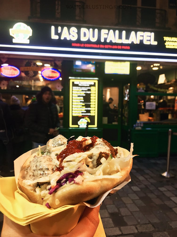 Falafel. Read about Paris on a budget with local recommendations for the best food for off the beaten path Paris without the crowds. #Paris #Travel #France
