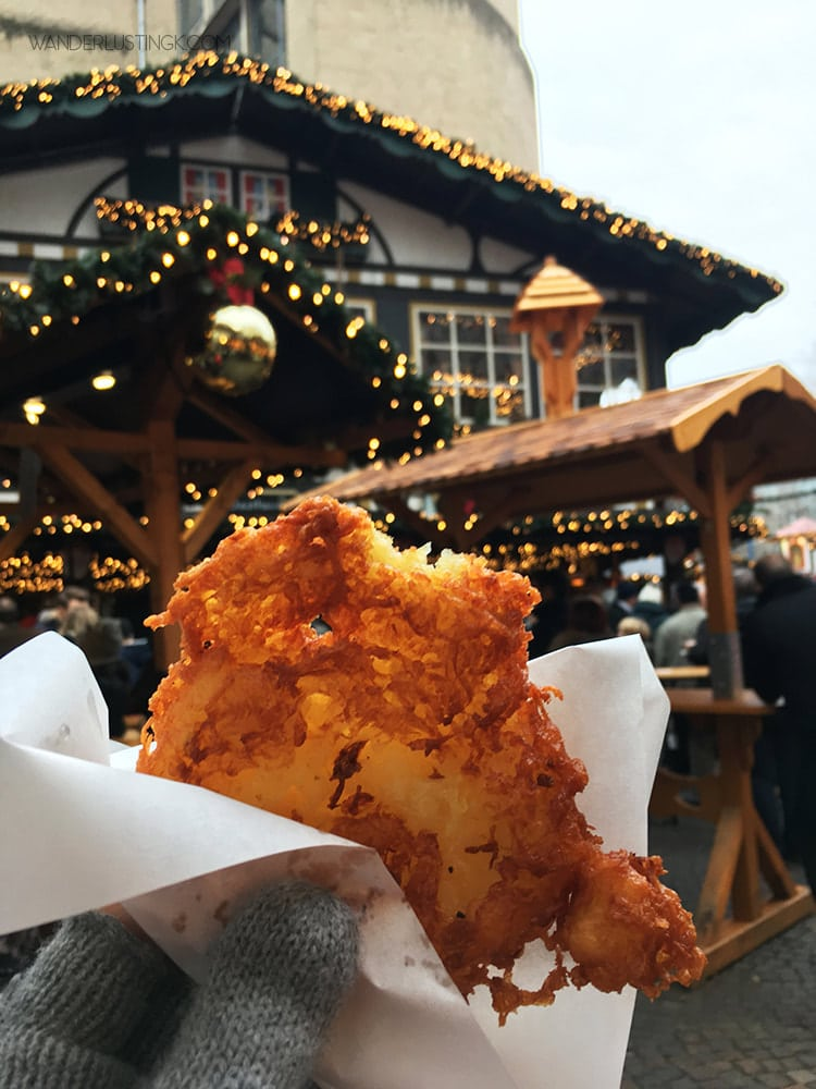 Photo of traditional potato Christmas food in Cologne. Read about the best things to do in Cologne in December including the Cologne Christmas markets.