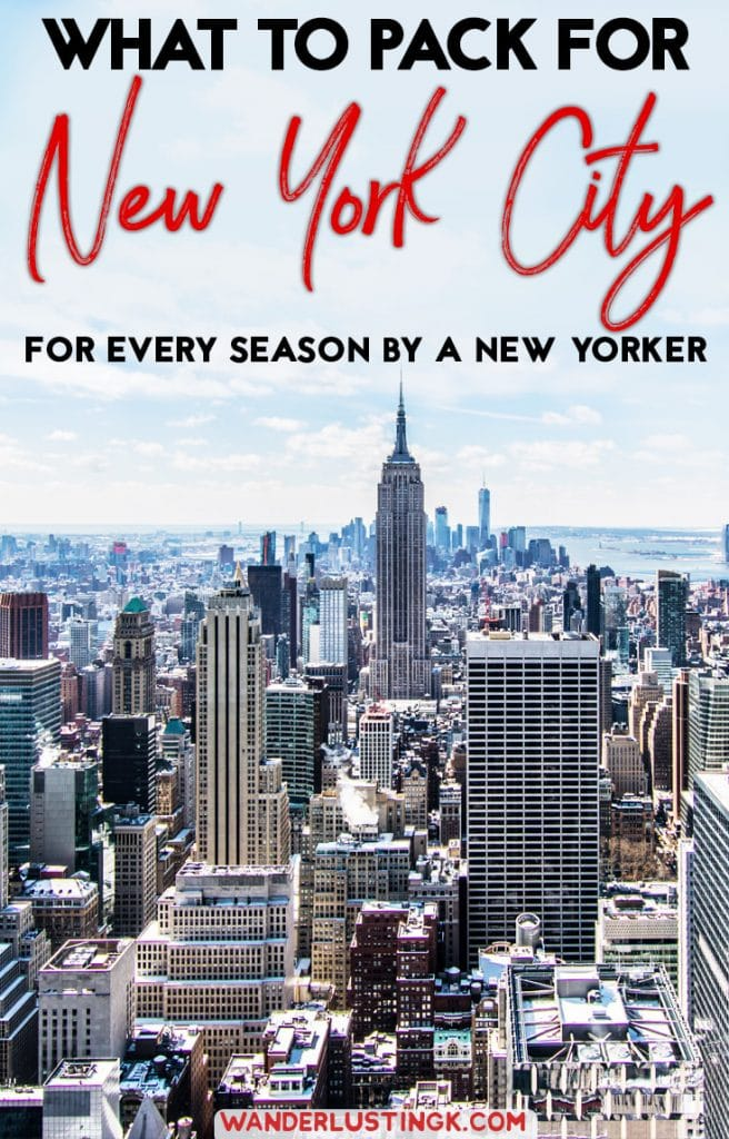 Wondering what to wear in New York City? Read a local's multi-season packing list with what to pack for New York City & what NOT to bring. #NYC #travel