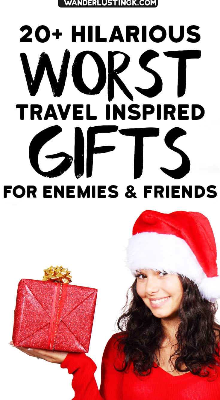 Looking for a funny holiday gift? 20+ travel gift ideas of what to buy for Christmas with the worst travel gift ideas ever. #Travel #Gifts #Christmas