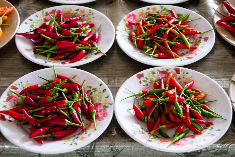 Chilis in the open air market in Bandar Seri Begawan. See why you should visit the markets in BSB!