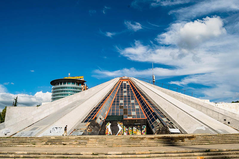 Photo of the Pyramid of Tirana in Tirana Albania, one of the main attractions of Tirana.