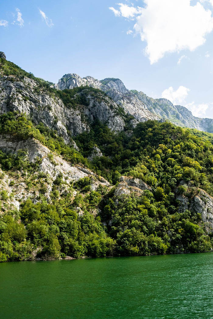 Beautiful photo of mountains near Lake Koman, one of the most beautiful places in Albania.
