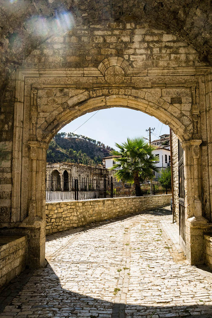 Beautiful photo of historical city gate of Berat Castle in Berat Albania. #Travel #Balkans #Albania