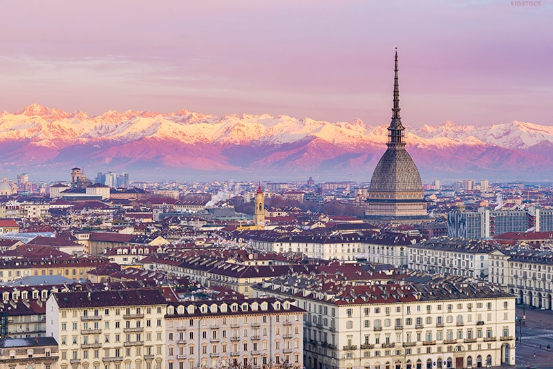 View of the Mole Antonelliana in Turin. Find out about the best museums to visit in Turin Italy with sightseeing tips for Turin with the must-sees!