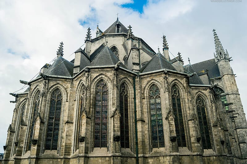 Photo of Collegiale Sainte-Waudru in Mons, a beautiful gothic style cathedral in Belgium.