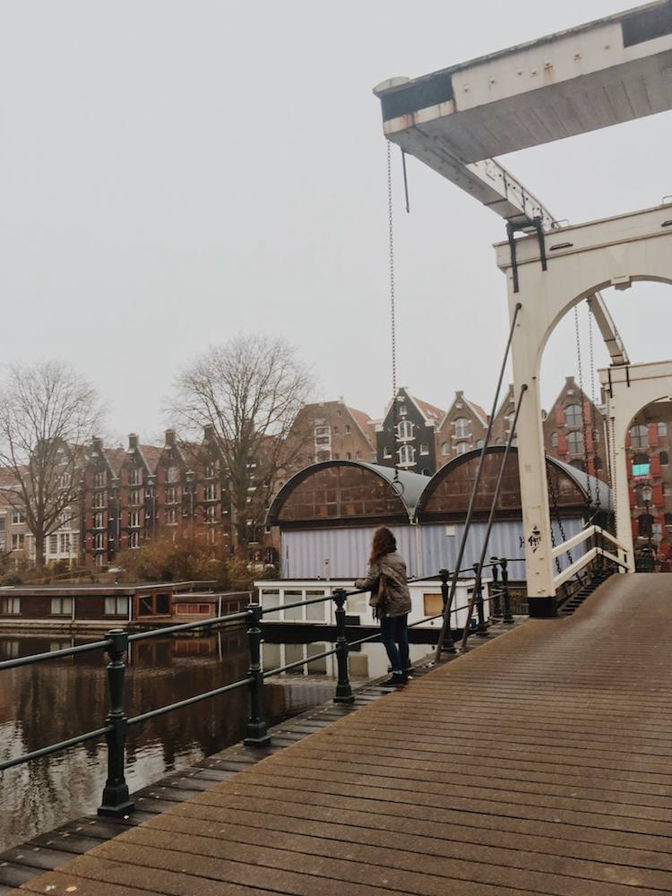 Girl admiring bridge in the Netherlands. Read what you need to download on your phone before moving to the Netherlands!